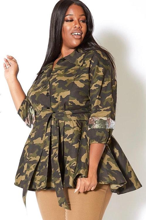Camo Sequin Belted Jacket/ Belt