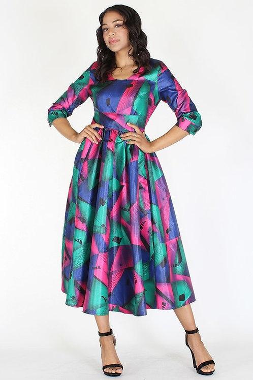 Multi Color Geometric Flare Dress