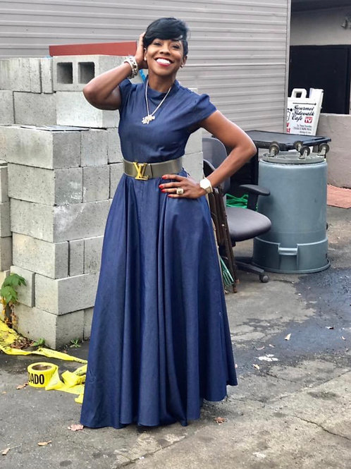 "The ""Amber"" Denim Aline Maxi Dress"
