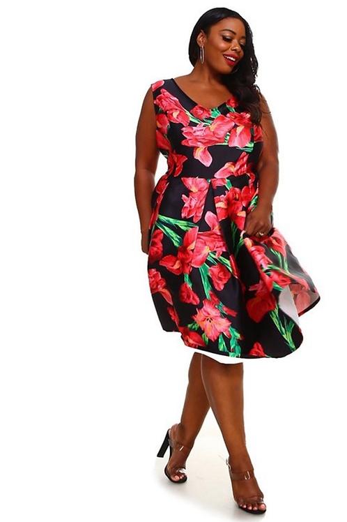 Floral Statment Midi Dress
