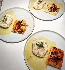 Halibut, beurre blanc, yam russet gratin