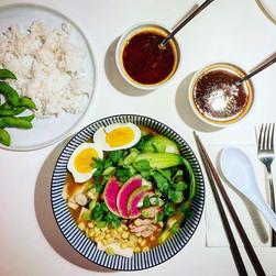 Tonkotsu ramen with homemade dashi, chashyu pork, homemade rayu chili oil