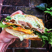 Steak, plantain, jack, arugula Cuban with cilantro-lime aioli