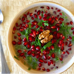 Armenian-style fuul with fava bean, pomegranate, walnut
