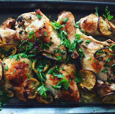 Roasted chicken with mustard, Meyer lemon, capers