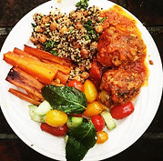Moroccan kefta meatballs in harissa, tricolor quinoa with roasted chickpeas, broiled carrots, Israeli salad with mint