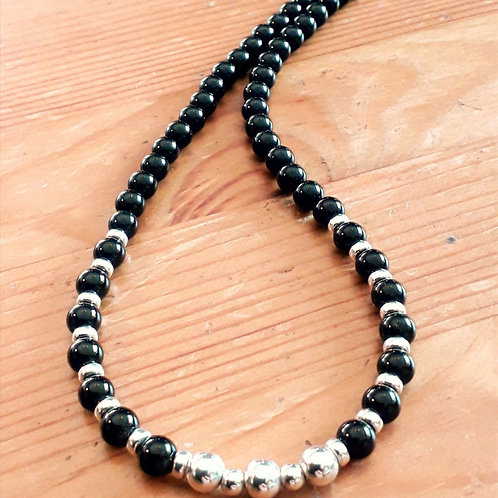 Onyx with sterling silver beads necklace