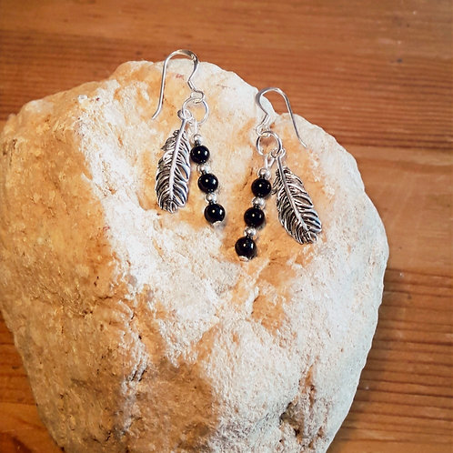 Sterling silver earrings, hooks/ studs, with silver feather and onyx.