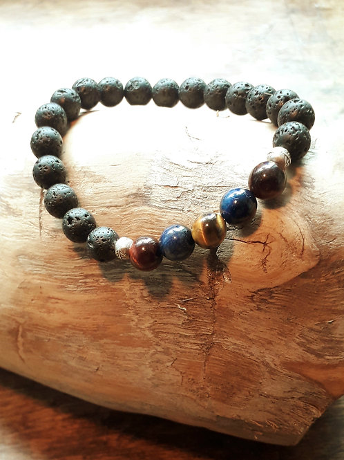 Lava 8mm with mixed tiger eye bracelet