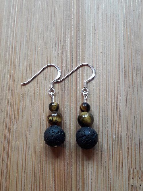 Lava/tiger eye earrings