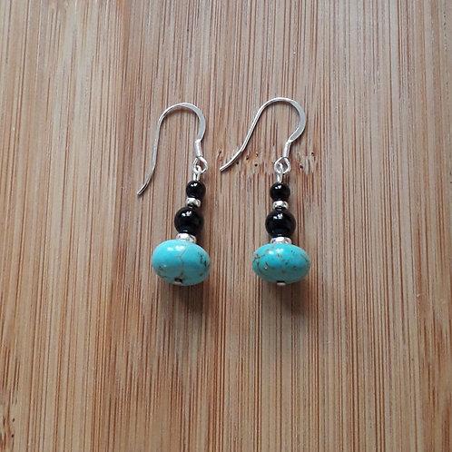Turquenite/onyx earrings