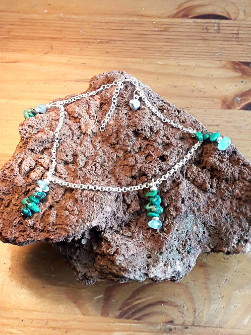 Silver anklet Turquoise/Aquamarine chips