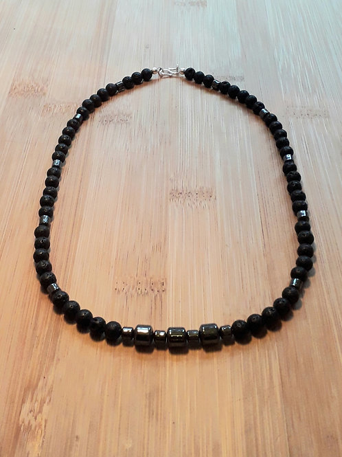 Lava/Hematite necklace His or Hers