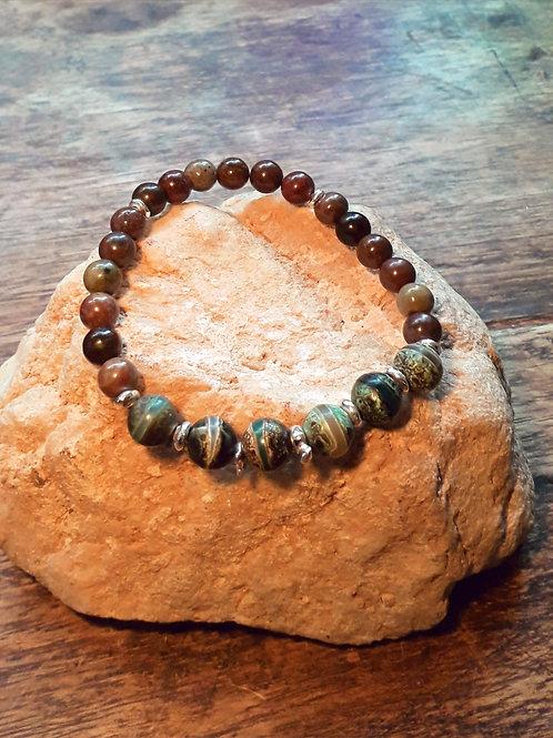 Tibetan agate/Autumn jasper with silver nuggets bracelet
