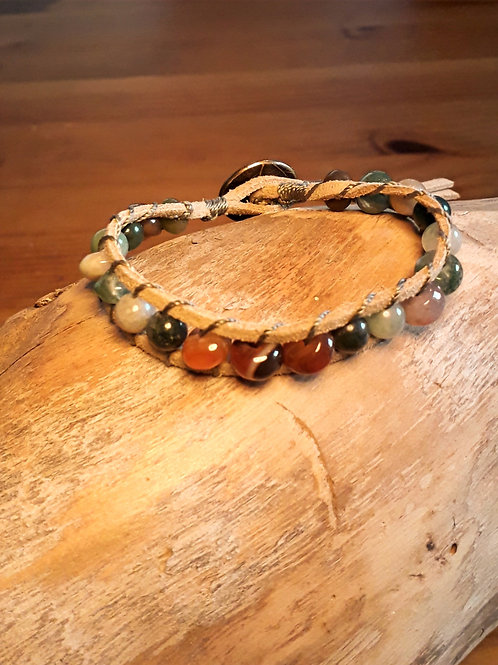 Vegan suede bracelet with red & moss agate
