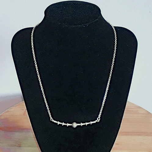 St.silver necklace with Tribe silver saucer bead