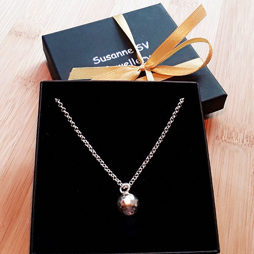 St.silver necklace with hammered bell charm