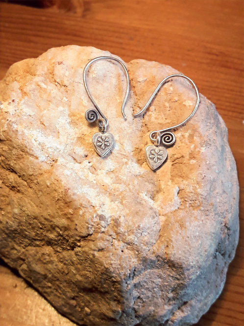 Tribe silver earrings with tiny hart charm