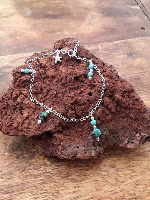 Silver anklet with African turquoise/silver beads