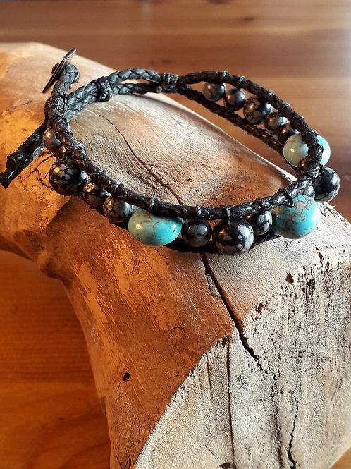 Vegan leather  bracelet obsidian/turquenite discs