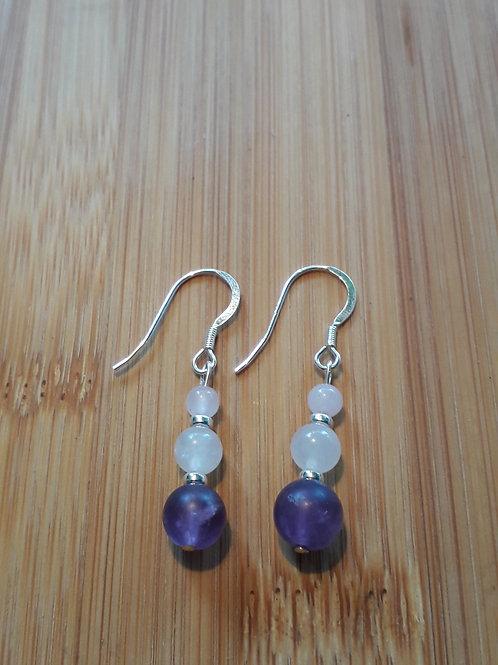 Matt amethyst/rose quartz earrings