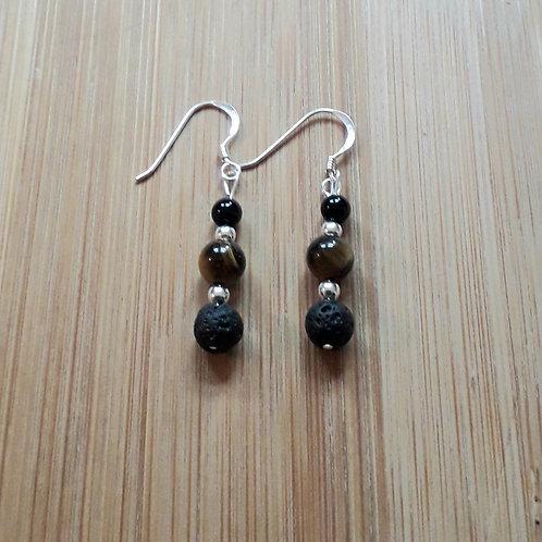 Lava/tiger eye/onyx earrings