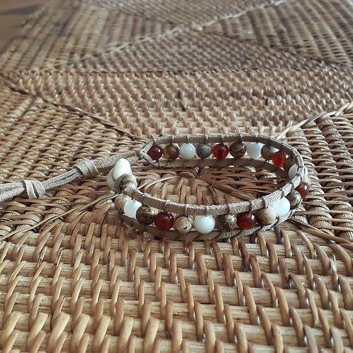 Vegan suede bracelet carnelian/jasper......