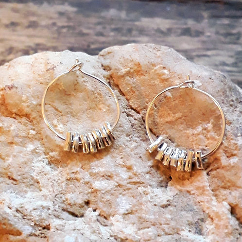 St.silver ear-hoops 20mm with bamboo sticks