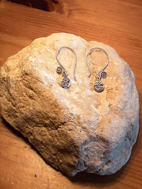 Tribe silver earrings with OM charm