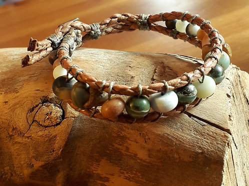 Vegan leather  bracelet Tibetan agate/amazonite....