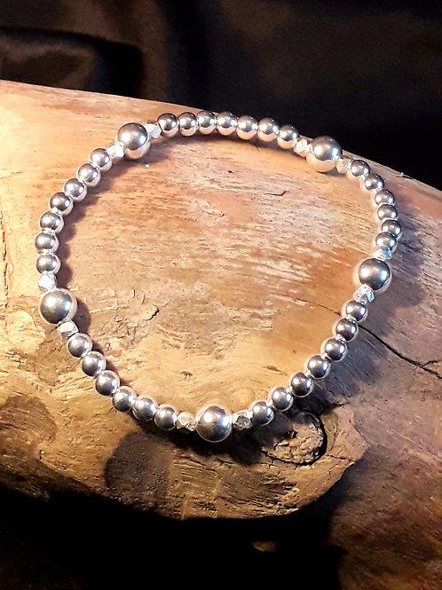 St.silver bead bracelet 4/6mm & ..........