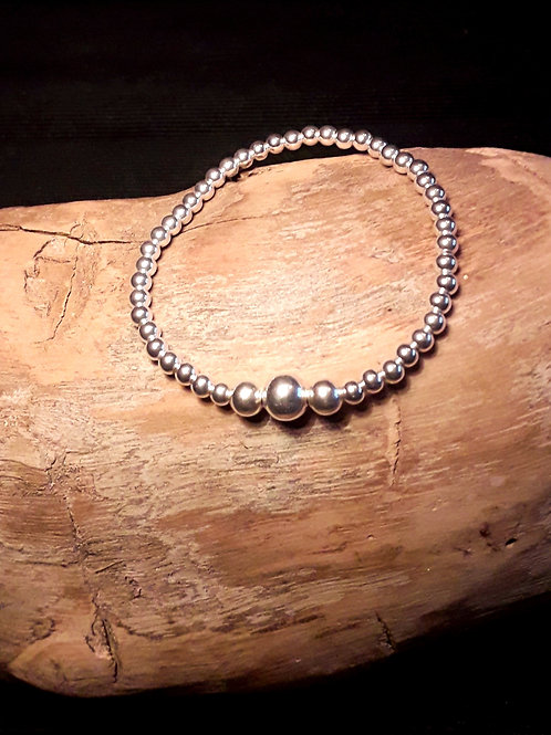 St.silver bracelet with 4/6/8mm beads