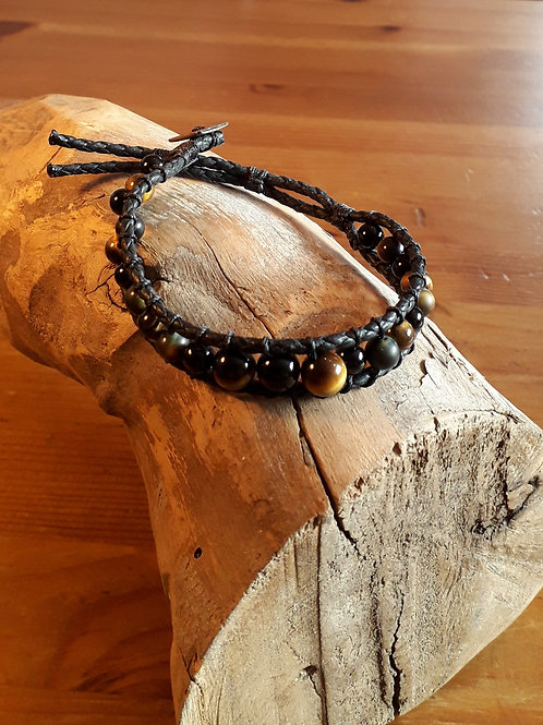 Vegan leather bracelet tiger eye/ onyx