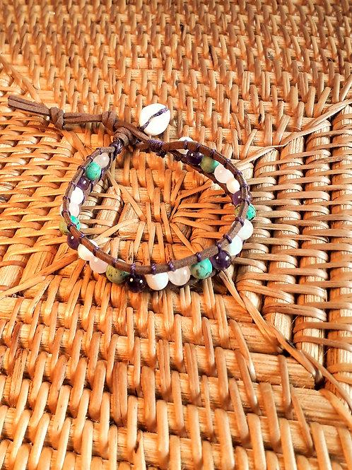 Vegan suede bracelet amethyst/Afr. turquoise/rose quartz...................
