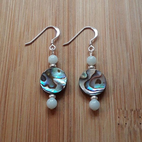 Amazonite/paua shell earrings