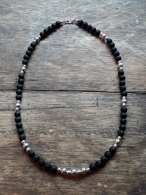 Lava 6mm with silver beads necklace