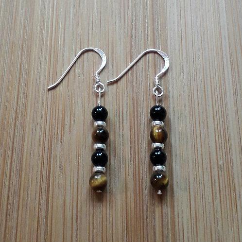 Onyx/tiger eye earrings