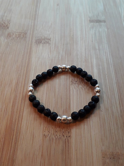 Lava/ silver beads bracelet