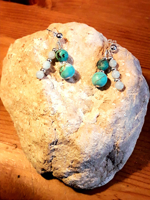 Amazonite/turquoise/blue jasper double earrings, hooks/ studs