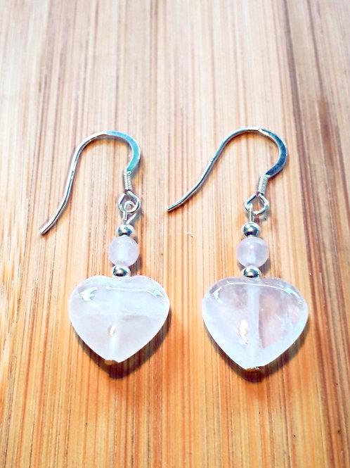 Rose quartz heart earrings, hooks/ studs