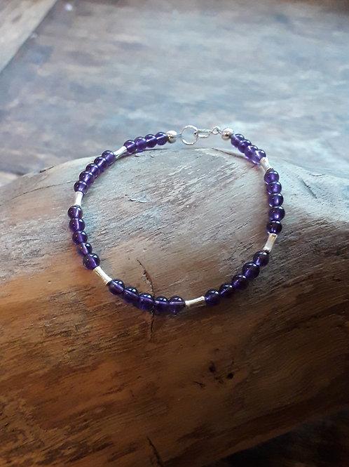 Amethyst / bamboo bracelet