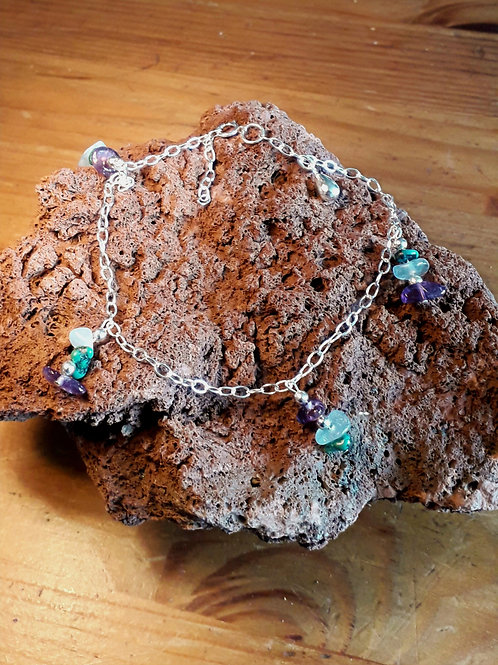 Silver anklet with Amethyst/turquoise......chips