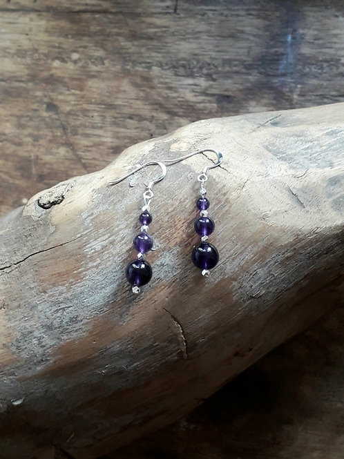 Amethyst with diamondcut silver bead earrings