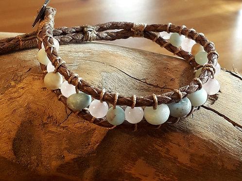 Vegan leather  bracelet amazonite/rose quartz