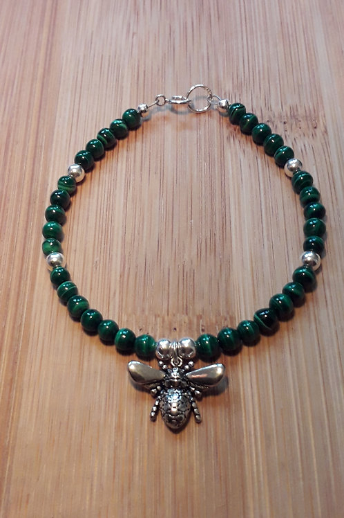 Malachite bee bracelet