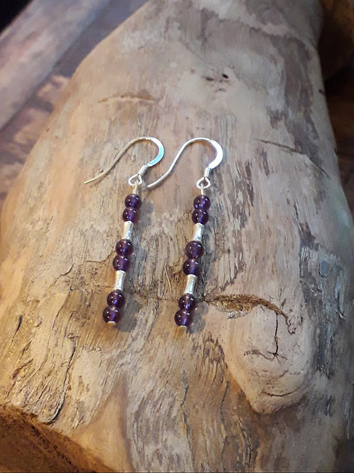 Amethyst with bamboo spacers earrings, hooks/ studs