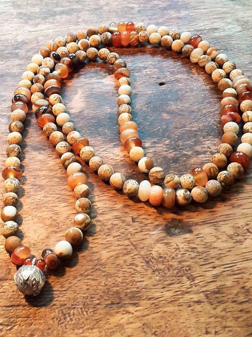 Red Agate rondelle/picture Jasper necklace