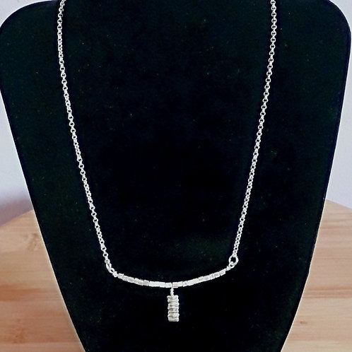 St.silver necklace with Tribe silver cube beads
