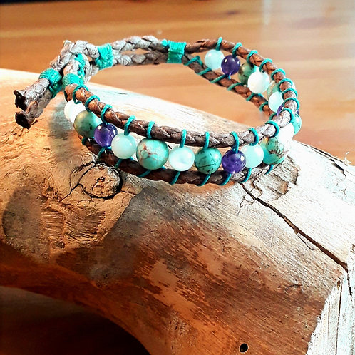 Vegan leather  bracelet Afr.turquoise/amethyst/amazonite.....
