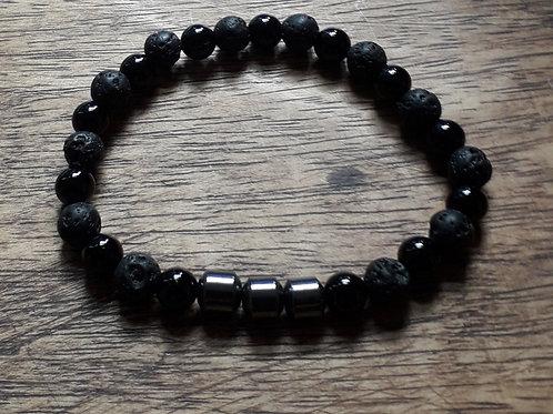 Lava/onyx hematite unisex bracelet (hers)